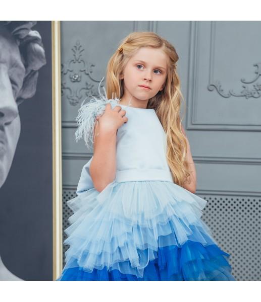 Детское платье Урсула,градиент голубое