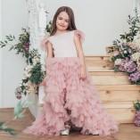 Детское платье Урсула, цвет пудра с перьями из евро фатина