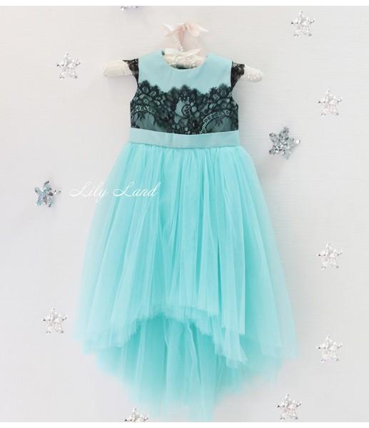 Детское платье Винтажное кружево, цвета голубой
