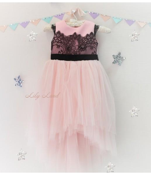 Детское платье Винтажное кружево, цвет нежно-розовый