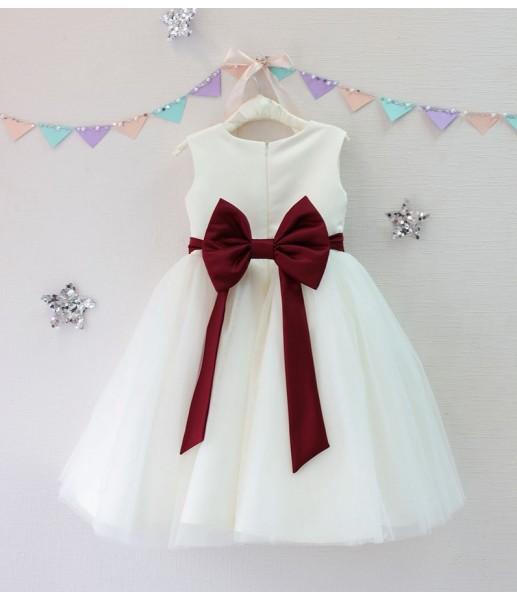 Детское платье Зефирное облако, цвет бордо и айвори