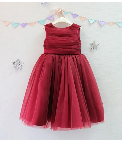 Детское платье Зефирное облако, цвет бордо