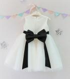 Детское платье Зефирное облако, цвет айвори и черный