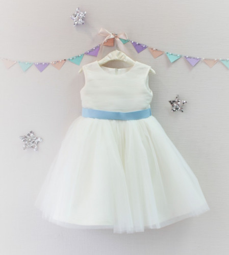 Детское платье Зефирное облако, цвет айвори и голубой