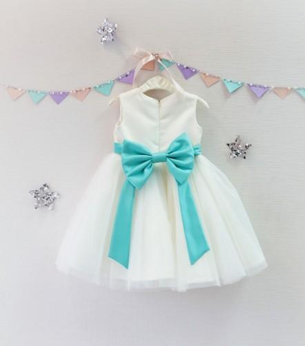 Детское платье Зефирное облако, цвет айвори и аквамарин