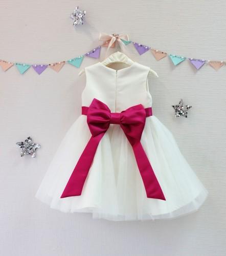 Детское платье Зефирное облако, цвет айвори и малина